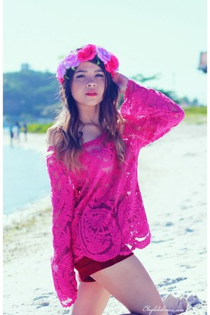 bubble gum blouse - hot pink hair accessory