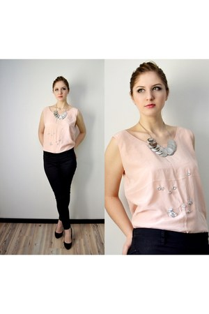 light pink silk handmade top - black Bershka jeans - silver asos necklace