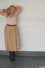 Slouchy-boots-lace-nude-top-thrifted-belt-thrifted-nude-skirt