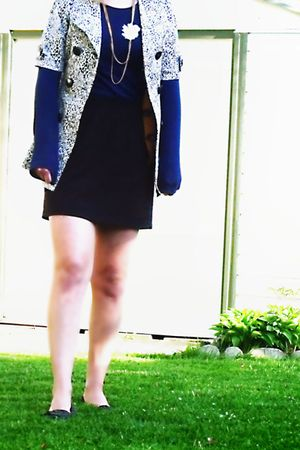 blue Gap shirt - gold RW & Co vest - white winners coat - black homemade skirt -