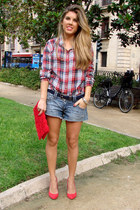 plaid Primark shirt - denim pull&bear shorts