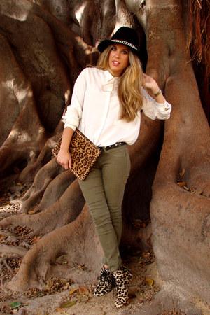 Zara hat - animal print BLANCO bag - Bershka pants