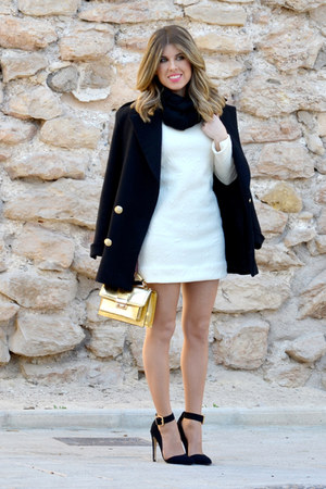 black coat - off white dress