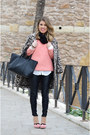 Black-zara-leggings-pink-lefties-jumper