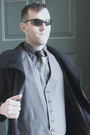 Black-coat-gray-vest-gray-shirt-black-pants-black-shoes-handmade-silk-