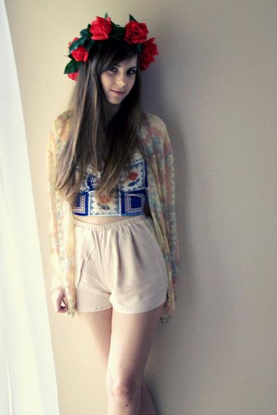 light pink H&M shorts - blue corset DIY bra - eggshell SH blouse
