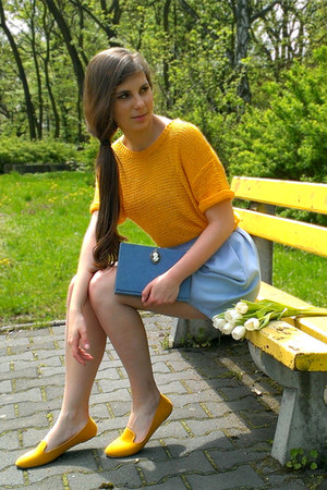 sky blue DIY bag - mustard H&M sweater - mustard loafers