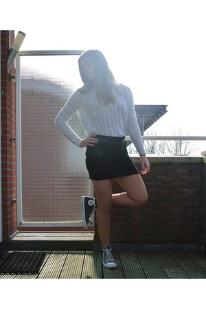eggshell Mango jumper - navy converse all stars shoes - black H&M skirt