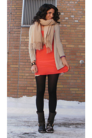 coral silk acne dress - dark gray Frye boots - beige lambswool acne scarf