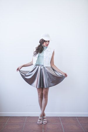 silver metallic DIY skirt - white cap vintage hat - white American Apparel vest