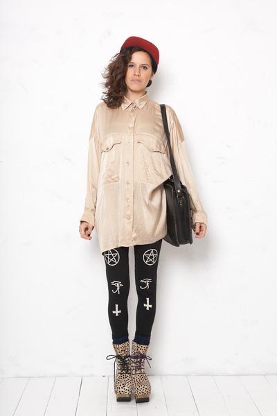 Actual Pain leggings - donegal Larose Paris hat - silk Vintage Escada shirt