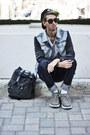 Heather-gray-denim-leather-viparo-jacket-gray-rucksack-mojo-bag