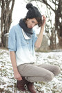 White-ombre-scarf-h-m-trend-scarf-light-blue-ombre-denim-romwe-shirt