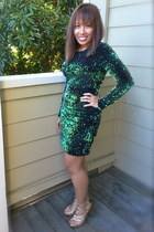 gold Sheik heels - green sequin Ebay dress