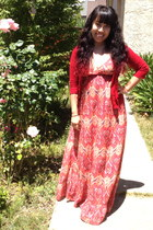 red maxi dress kohls dress - red Forever21 cardigan