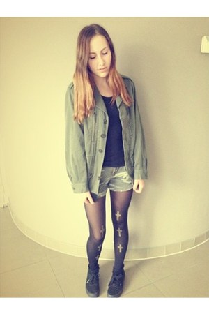 army green Urban Outfitters jacket - black Topshop tights