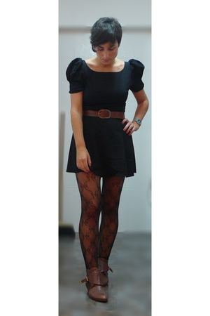 asos dress - H&amp;M belt - Topshop tights - Topshop shoes