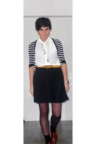 white blouse - black H&M skirt - gold Primark belt - white Primark cardigan - bl