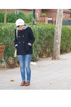 blue Topshop coat - blue Bershka jeans - brown Topshop shoes - white Sfera hat -