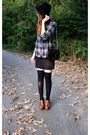 Brown-steve-madden-clogs-shoes-blue-f21-top-black-thrifted-skirt