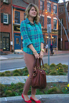 J Crew shirt - BDG jeans - J Crew bag - J Crew flats - Forever 21 necklace