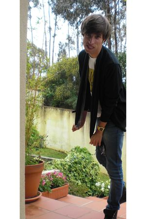 black BLANCO cardigan - white Pull and Bear t-shirt - blue Pull and Bear jeans -