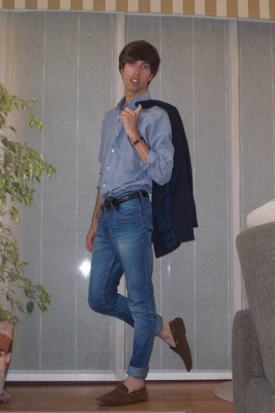 purple Zara shirt - blue vintage blazer - blue Pull and Bear jeans - brown vinta