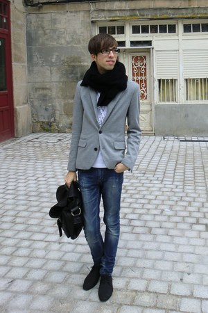 black BLANCO scarf - charcoal gray Zara blazer - white BLANCO t-shirt - black Za