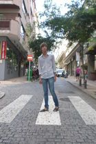 gray H&M shirt - blue pull&bear jeans - black BLANCO shoes - silver casio access