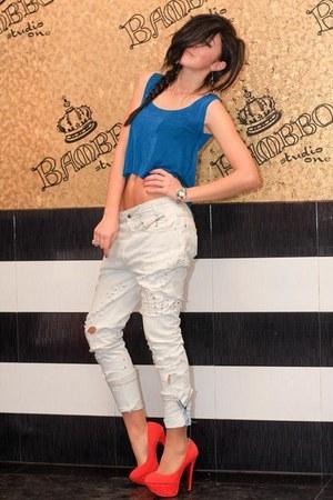 heels - jeans - top
