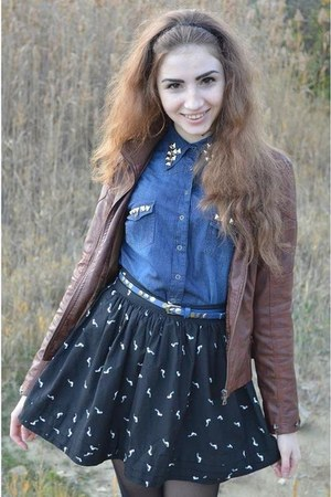 dark blue Bershka skirt - creepers shoes - New Yorker belt