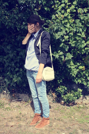 blue Zara blazer - blue H&M jeans - blue Zara shirt - beige accessories