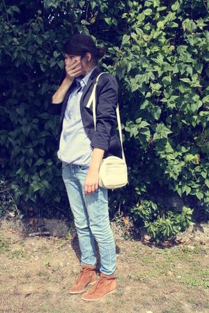 blue Zara blazer - blue H&M jeans - blue Zara shirt - beige accessories