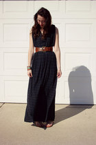 navy knit maxi dress homemade dress - brown wide belt Forever 21 belt