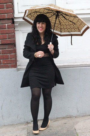 Steve Madden coat - bodycon H&M dress - umbrella coach accessories
