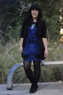 Black-7-for-all-mankind-blazer-blue-alice-olivia-dress