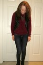 Black-combat-boots-boots-denim-american-eagle-jeans
