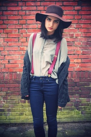 floppy Bershka hat - suspenders vintage accessories - sheer COS top