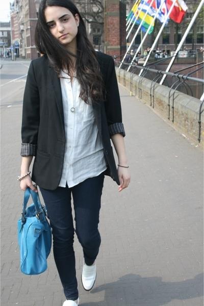 H&M blazer - Zara blouse - Bertie shoes - Bershka jeans - online buy purse