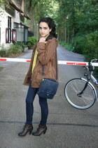 brown diana boots - dark brown Zara jacket - navy Zara purse - yellow floral pri
