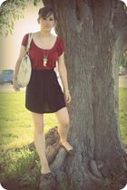 brown American Eagle shoes - red Forever 21 shirt - beige Forever 21 necklace