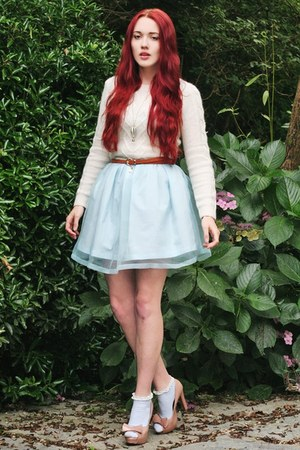 blue dress - angora mix sweater - frilly Topshop socks - nude bow new look heels