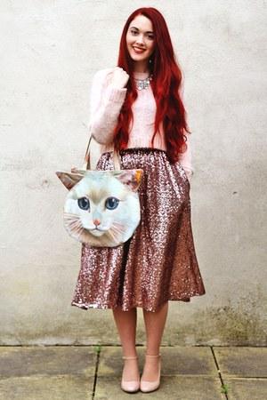 cat Tigerlilly Quinn bag - pink Topshop coat - sequin River Island skirt