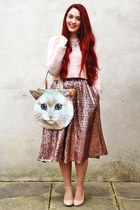 cat Tigerlilly Quinn bag - pink Topshop coat - sequin River Island skirt