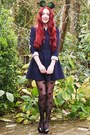 Pearl-detail-romwe-dress-mickey-mouse-primark-tights-patent-h-m-heels
