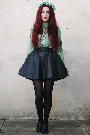faux leather H&M skirt - leather Topshop boots - boots
