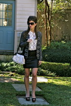 black Thoery skirt - silver Chanel bag - Chanel sunglasses