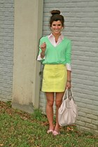 cream skirt Theory skirt - aquamarine v-neck J Crew sweater