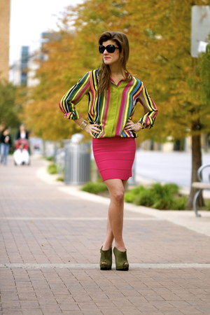 hot pink hot pink banded plesure doing business skirt