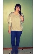 heather gray sweatshirt - blue Bullhead jeans - gray Self Esteem boots - white I